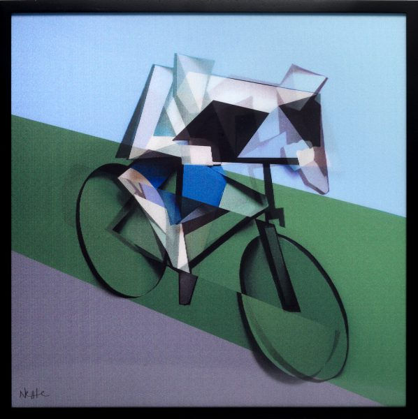 Adam Neate limited edition moving flip lenticular print . cyclist . Elms Lesters