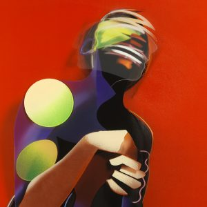 Adam Neate limited edition print, diasec, kneeling figure, shaking head, self portrait, Elms Lesters for sale