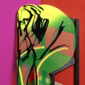 Adam Neate limited edition, 3D Black Chair, self portrait, for sale, Elms Lesters