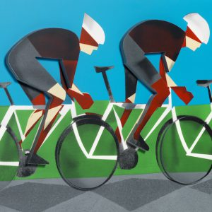 Adam Neate limited edition print / multiple cyclists, for sale, Elms Lesters