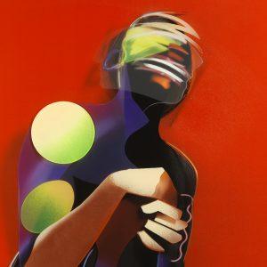 Adam Neate limited edition print, diasec, kneeling figure, shaking head, self portrait, Elms Lesters for sale
