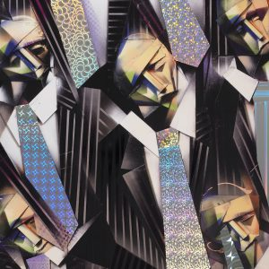 Adam Neate limited edition lithograph with holographic foils of business men walking across London Bridge, for sale, Elms Lesters