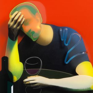 Adam Neate limited edition print, wine drinker, diasec, for sale, Elms Lesters