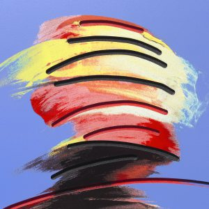 Adam Neate limited edition print. Dimensional surface edition. Adam Neate shaking head . for sale, Elms Lesters
